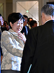 November 29, 2016, Tokyo, Japan - Tokyo Gov. Yuriko Koike and President Yoshiro Mori, back to camera, of the Tokyo Organizing Committee of the Olympic and Paralympic Games exchange words following a four-party meeting to review costs and venues for the 2020 Tokyo Olympics and Paralympics at a Tokyo hotel on Tuesday, November 29, 2016. The four top-level representatives of the International Olympic Committee, 2020 Games organizers, the Tokyo Metropolitan and Japanese governments discussed details regarding the venues for rowing/canoe and volleyball based on proposals by the metropolitan government.  (Photo by Natsuki Sakai/AFLO) AYF -mis-