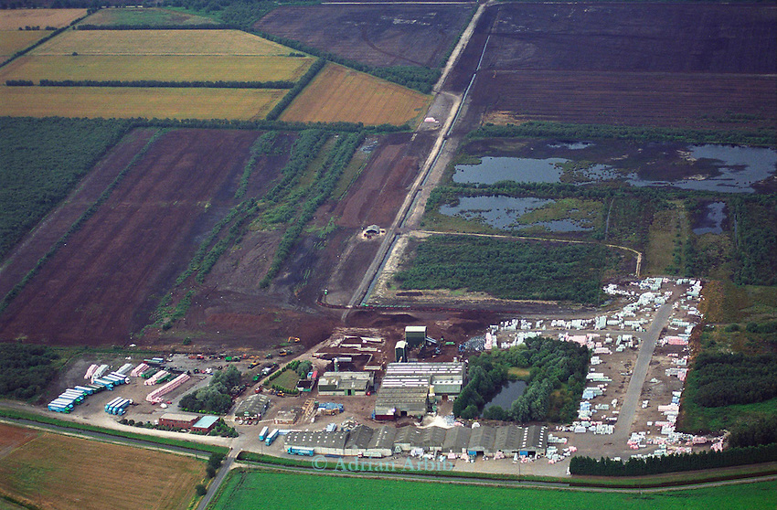 Aerial view of Scotts peat factory on Thorne Moors.  Scotts continue to drain and extract peat from  this fragile ecosystem despite massive protest locally and nationally.