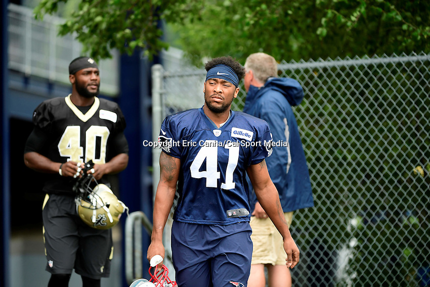 Wednesday August 10, 2016: New England Patriots defensive back Cedric Thompson (41) at a joint training camp practice between New England Patriots and  the New Orleans Saints  training camp held Gillette Stadium in Foxborough Massachusetts. Eric Canha/CSM