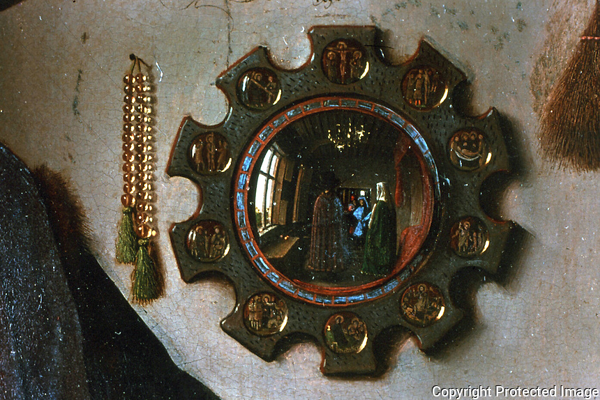 Paintings:  Jan Van Eyck--(Detail: Mirror)  The Amolfini Marriage.  National Gallery--London.  Reference only.