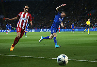 Leicester City's Jamie Vardy wins a thrown in of Atletico Madrid's Diego Godin<br /> <br /> Photographer Stephen White/CameraSport<br /> <br /> UEFA Champions League Quarter Final Second Leg - Leicester City v Atletico Madrid - Tuesday 18th April 2017 - King Power Stadium - Leicester <br />  <br /> World Copyright &copy; 2017 CameraSport. All rights reserved. 43 Linden Ave. Countesthorpe. Leicester. England. LE8 5PG - Tel: +44 (0) 116 277 4147 - admin@camerasport.com - www.camerasport.com