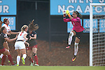 18 November 2016: Clemson's Kailen Sheridan (CAN) (1) catches the ball. The Clemson University Tigers played the University of Arkansas Razorbacks at Fetzer Field in Chapel Hill, North Carolina in a 2016 NCAA Division I Women's Soccer Tournament Second Round match. Clemson advanced by winning the Penalty Kick Shootout 4-2 after the game ended in a 0-0 tie after overtime.