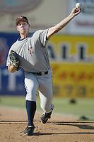 Jon Switzer of the Bakersfield Blaze throws in the bullpen before a California League 2002 season game against the Lancaster JetHawks at The Hanger, in Lancaster, California. (Larry Goren/Four Seam Images)