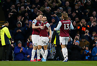 7th March 2020; Turf Moor, Burnley, Lanchashire, England; English Premier League Football, Burnley versus Tottenham Hotspur;  Chris Wood of Burnley celebrates with Ashley Westwood and Jay Rodriguez after scoring his team's first goal to make the score 1-0 after 13 minutes - Strictly Editorial Use Only. No use with unauthorized audio, video, data, fixture lists, club/league logos or 'live' services. Online in-match use limited to 120 images, no video emulation. No use in betting, games or single club/league/player publications