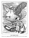 "The Wooden Dove. ""It came to me in a nightmare, Hermann - my secret weapon against the Allies for the next year's campaign."" (a wooden dove of peace rides on a tank with gun turrets and a sword in its beak)"