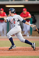 Lucas May #8 of Team USA follows through on his swing versus Team Canada at the USA Baseball National Training Center, September 4, 2009 in Cary, North Carolina.  (Photo by Brian Westerholt / Four Seam Images)