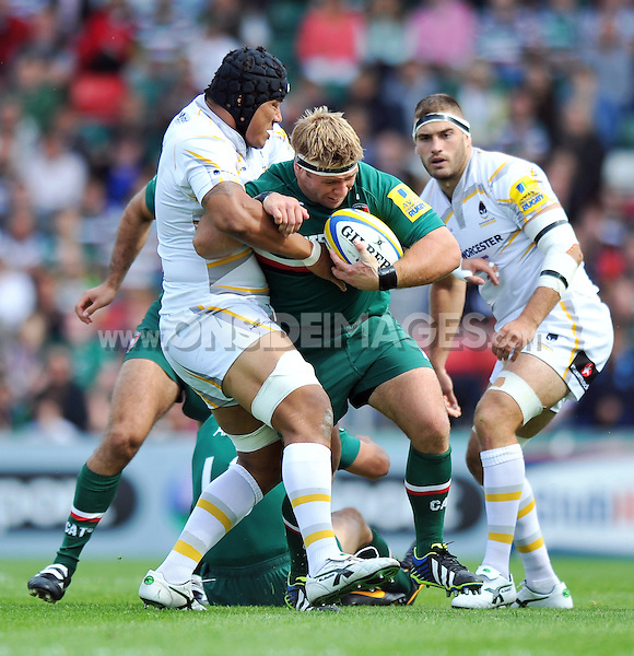 Tom Youngs is tackled in possession. Aviva Premiership match, between Leicester Tigers and Worcester Warriors on September 8, 2013 at Welford Road in Leicester, England. Photo by: Patrick Khachfe / JMP