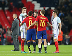 England's Eric Dier complains of an elbow from Spain's Ander Herrera at the final whistle during the friendly match at Wembley Stadium, London. Picture date November 15th, 2016 Pic David Klein/Sportimage