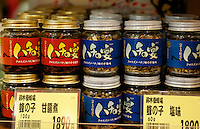 NAGANO PREFECTURE, JAPAN - BOTTLED COOKED INSECTS AT THE SHOP.  IN NAGANO AREA, INSECTS HAVE BEEN EATEN AS PROTEIN FOR A LONG TIME.