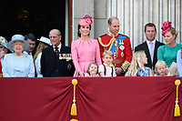 HM Queen Elizabeth II &amp; Prince Philip, Duke of Edinburgh; Catherine, Duchess of Cambridge; Princess Charlotte; Prince George &amp; Prince William, Duke of Cambridge; Peter &amp; Autumn Phillips; Savannah &amp; Isla Phillips on the balcony of Buckingham Palace following the Trooping of the Colour Ceremony celebrating the Queen's official birthday. London, UK. <br /> 17 June  2017<br /> Picture: Steve Vas/Featureflash/SilverHub 0208 004 5359 sales@silverhubmedia.com