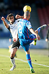 Inverness Caledonian Thistle v St Johnstone...24.10.15  SPFL  Tulloch Stadium, Inverness<br /> Simon Lappin challenges David Raven<br /> Picture by Graeme Hart.<br /> Copyright Perthshire Picture Agency<br /> Tel: 01738 623350  Mobile: 07990 594431