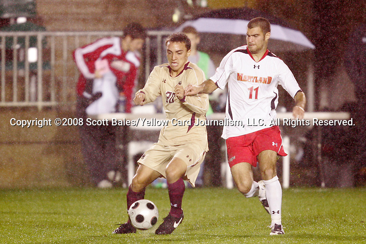 14 November 2008: Boston College's Mario Uribe (20) and Maryland's Graham Zusi (11). The University of Maryland defeated Boston College 1-0 at WakeMed Stadium at WakeMed Soccer Park in Cary, NC in a men's ACC tournament semifinal game.