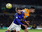 Marc Albrighton of Leicester City challenges Leander Dendoncker of Wolverhampton Wanderers during the Premier League match at Molineux, Wolverhampton. Picture date: 14th February 2020. Picture credit should read: Darren Staples/Sportimage