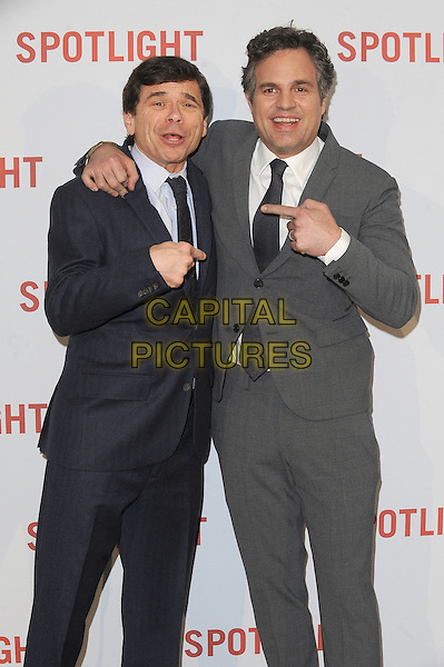 LONDON, ENGLAND - JANUARY 20: Mike Rezendes and Mark Ruffalo attend the UK Premiere of Spotlight at the Washington Hotel and Curzon Mayfair on January 20, 2016 in London, England.<br /> CAP/BEL<br /> &copy;Tom Belcher/Capital Pictures