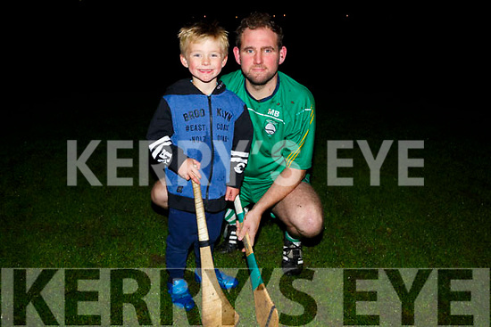 Mikey Boyle Capt of Ballyduff Snr Hurling Team with his son Bobby after training on Friday evening