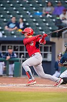 Springfield Cardinals infielder Evan Mendoza (4) connects on a pitch on May 18, 2019, at Arvest Ballpark in Springdale, Arkansas. (Jason Ivester/Four Seam Images)