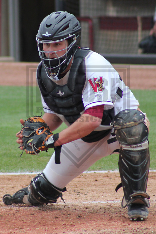 APPLETON - MAY 2011: Tyler Roberts (28) of the Wisconsin Timber Rattlers, Class-A affiliate of the Milwaukee Brewers, during a game on May 18, 2011 at Fox Cities Stadium in Appleton, Wisconsin. (Photo by Brad Krause) ........