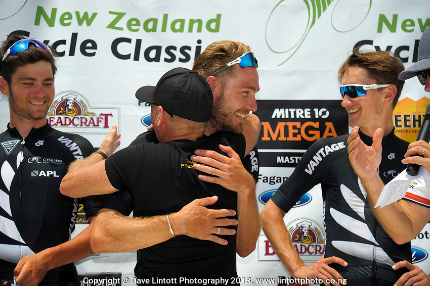 Tour champion Hayden McCormick celebrates victory with teammates. Stage five of the 2018 NZ Cycle Classic UCI Oceania Tour (Masterton criterium) in Masterton, New Zealand on Friday, 21 January 2018. Photo: Dave Lintott / lintottphoto.co.nz