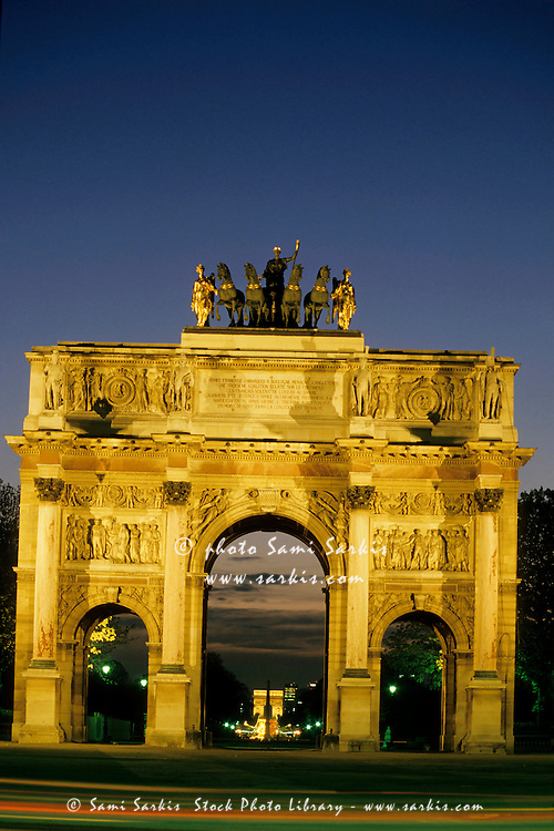 The Arc de Triomphe du Carrousel with Arc de Triomphe in the background, Paris, France.