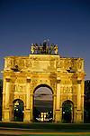 The Arc de Triomphe du Carrousel with Arc de Triomphe in the background, Paris, France.