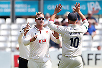 Simon Harmer of Essex celebrates with his team mates after taking the wicket of Rob Yates during Essex CCC vs Warwickshire CCC, Specsavers County Championship Division 1 Cricket at The Cloudfm County Ground on 16th July 2019