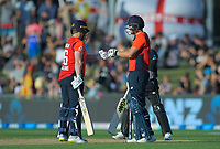 England captain Eoin Morgan and Dawid Malan during the 4th Twenty20 International cricket match between NZ Black Caps and England at McLean Park in Napier, New Zealand on Friday, 8 November 2019. Photo: Dave Lintott / lintottphoto.co.nz