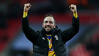 Gonzalo Higuain of Juventus celebrates at the end of the game<br /> <br /> Photographer Rob Newell/CameraSport<br /> <br /> UEFA Champions League Round of 16 Second Leg - Tottenham Hotspur v Juventus - Wednesday 7th March 2018 - Wembley Stadium - London <br />  <br /> World Copyright &copy; 2017 CameraSport. All rights reserved. 43 Linden Ave. Countesthorpe. Leicester. England. LE8 5PG - Tel: +44 (0) 116 277 4147 - admin@camerasport.com - www.camerasport.com