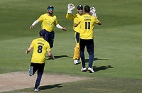 Lewis McManus and Kyle Abbott of Hampshire celebrate taking the wicket of Cameron Delport during Hampshire vs Essex Eagles, Vitality Blast T20 Cricket at the Ageas Bowl on 25th August 2019