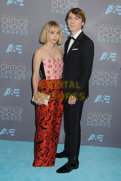 17 January 2016 - Santa Monica, California - Zoe Kazan, Paul Dano. 21st Annual Critics' Choice Awards - Arrivals held at Barker Hangar. <br /> CAP/ADM/BP<br /> &copy;BP/ADM/Capital Pictures
