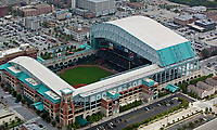 aerial photograph of the Houston Texas Minute Maid Park home to Astros baseball stadium, Houston, Texas