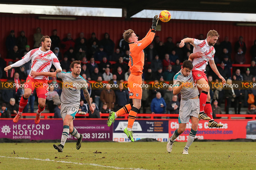 Dean Henderson of Grimsby Town denies Fraser Franks of Stevenage during Stevenage vs Grimsby Town, Sky Bet EFL League 2 Football at the Lamex Stadium on 28th January 2017