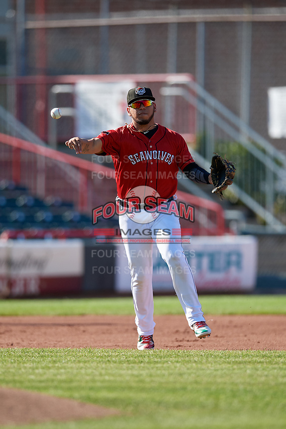 Erie SeaWolves third baseman Isaac Paredes (18) throws to first base during an Eastern League game against the Richmond Flying Squirrels on August 28, 2019 at UPMC Park in Erie, Pennsylvania.  Richmond defeated Erie 6-4 in the first game of a doubleheader.  (Mike Janes/Four Seam Images)