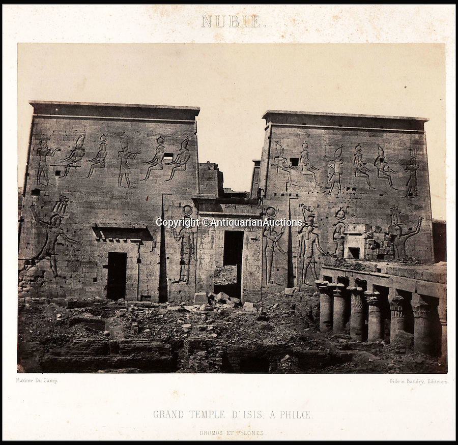 BNPS.co.uk (01202 558833)<br /> Pic: AntiquarianAuctions/BNPS<br /> <br /> Temple of Isis at Philae - later moved in the 20th century by the construction of the Aswan Dam<br /> <br /> First Impression's - earliest prints of ancient Egypt uncovered <br /> <br /> Calotypes from the 1840's revealed the stunning architecture of the ancient civilisation to the Victorian public for the first time.<br /> <br /> The stunning collection - comprising 59 black and white images of sights including the pyramids, the Sphinx and statues at Aswan - is among the first known volumes of travel photography.<br /> <br /> Produced at a time when camera technology was still in its infancy, they were captured by Maxime Du Camp, the son of a wealthy French surgeon, between 1849 and 1851 during a government-funded expedition with his friend and literary great Gustave Flaubert.<br /> <br /> They are being sold by Antiquarian Auctions in an online sale which ends on Thursday.