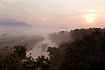 River and view at misty Morning Sunrise, Corbett National Park, Uttarakhand, Oldest National Park in India, named after Jim Corbett hunter turned conservationist, Northern India.India....