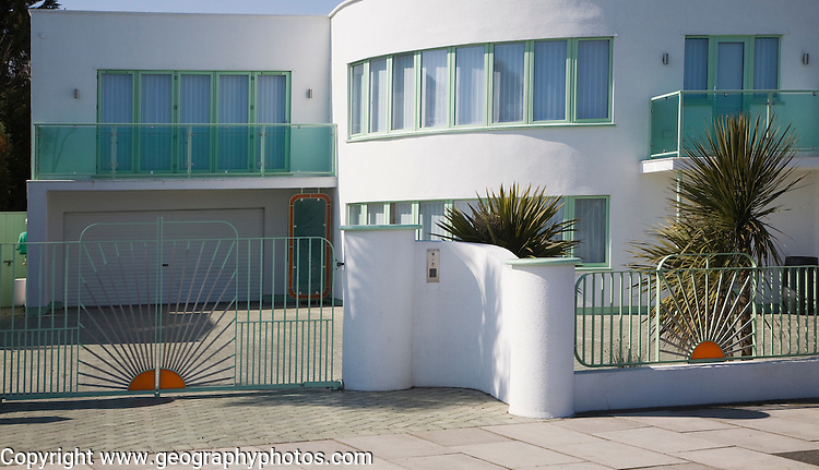 Art deco 1930s housing Frinton on Sea, Essex, England