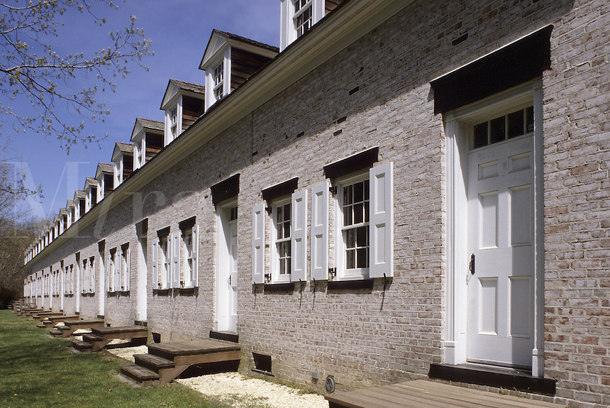 Allaire Historic Village in Monmouth County, New Jersey.A row of worker's cabins, seen in Allaire Park, a restored early ironware manufacturing village