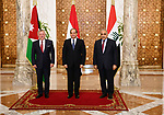 Egyptian President Abdel Fattah al-Sisi (C) meets with Jordanian King Abdullah II (L) and Iraqi Prime Minister Adel Abdel Mahdi (R) at the presidential palace in Cairo, Egypt, 24 March 2019. Photo by Egyptian President Office