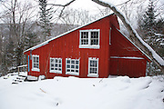 "New Hampshire Outing Club's ""Franky"" cabin in Franconia Notch State Park of the White Mountains, New Hampshire USA during the winter months. The New Hampshire Outing Club owns this cabin and operates on a special use permit from the state of New Hampshire."