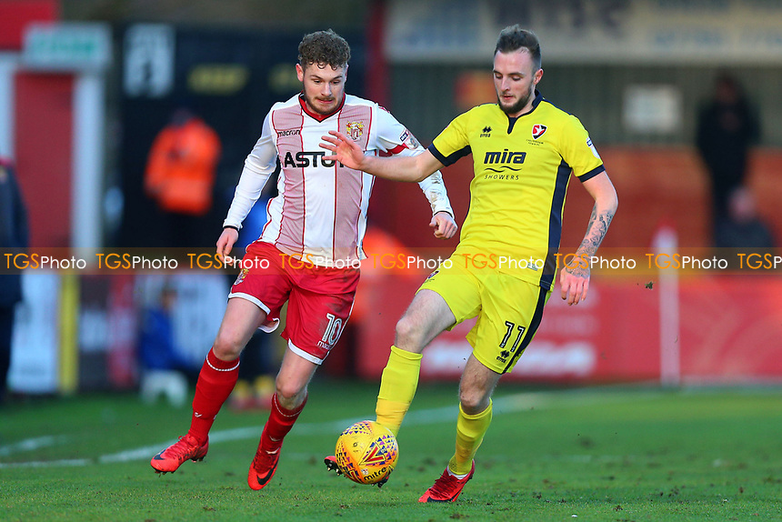Ben Kennedy of Stevenage and Carl Winchester of Cheltenham Town during Stevenage vs Cheltenham Town, Sky Bet EFL League 2 Football at the Lamex Stadium on 1st January 2018