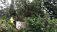 FPL crews restoring power during Hurricane Dorian in Daytona, Fla. on September 4, 2019