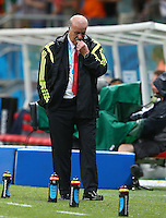 Spain coach Vicente Del Bosque shows a look of dejection