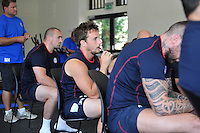 Martin Roberts looks on during a team meeting. Bath Rugby pre-season training on July 16, 2013 at Farleigh House in Bath, England. Photo by: Patrick Khachfe/Onside Images