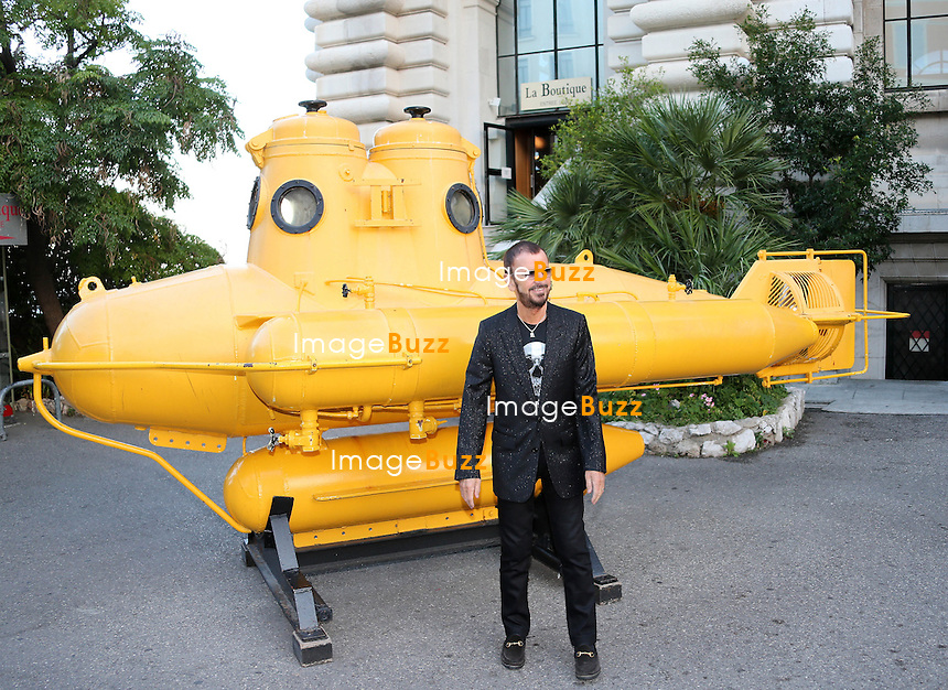 Ringo Starr and wife Barbara Bacht attend the inauguration of 'Alternativelight PASSION/OCEAN' exhibition at the Oceanographic Museum of Monaco. Sibylle Szaggars Redford also attends this event, she is one of the artists of the exhibition. <br /> British musician and artist Ringo Starr received the &quot;Insigne de Commandeur de l'ordre des Arts et Lettres&quot; medal during a ceremony as part of the &quot;Passion Ocean&quot; exhibition inauguration. <br /> Artist Benjamin Shine posed next to Shine's new portrait in tulle netting of Princess Charlene of Monaco.<br /> Monaco, September 24, 2013.