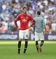 Dejection for Manchester United's Chris Smalling<br /> <br /> Photographer Rob Newell/CameraSport<br /> <br /> Emirates FA Cup Final - Chelsea v Manchester United - Saturday 19th May 2018 - Wembley Stadium - London<br />  <br /> World Copyright &copy; 2018 CameraSport. All rights reserved. 43 Linden Ave. Countesthorpe. Leicester. England. LE8 5PG - Tel: +44 (0) 116 277 4147 - admin@camerasport.com - www.camerasport.com