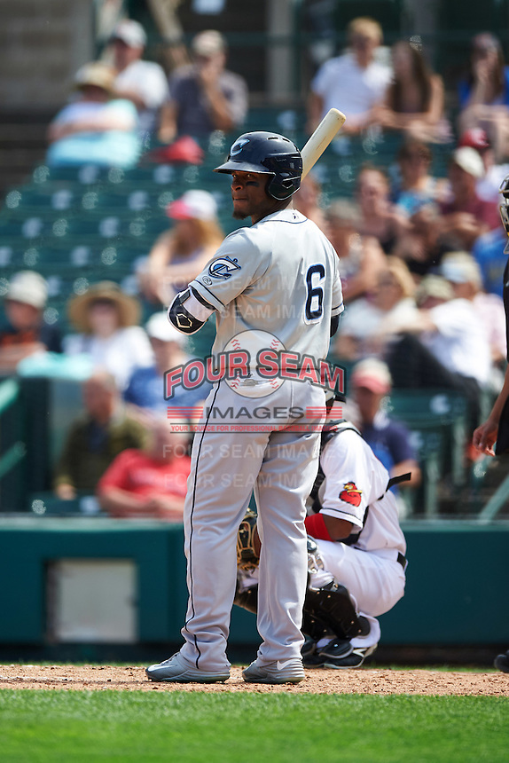 Columbus Clippers left fielder Bryson Myles (6) at bat during a game against the Rochester Red Wings on June 16, 2016 at Frontier Field in Rochester, New York.  Rochester defeated Columbus 6-2.  (Mike Janes/Four Seam Images)