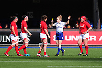 Siwan Lillicrap (left) of Wales is shown a yellow card by Referee Hollie Davidson for a high tackle during the Women's Six Nations match between Wales and Ireland at Cardiff Arms Park, Cardiff, Wales, UK. Sunday 17 March 2019