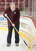 Paul Gallivan - The Boston College Eagles defeated the Merrimack College Warriors 4-2 to give Head Coach Jerry York his 900th collegiate win on Friday, February 17, 2012, at Kelley Rink at Conte Forum in Chestnut Hill, Massachusetts.