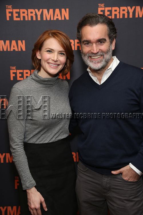 """Holly Fain and Brian d'Arcy James attends the """"The Ferryman"""" cast change photo call on January 17, 2019 at the Sardi's in New York City."""