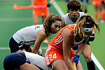 The Hague, Netherlands, June 09: During the field hockey group match (Women - Group A) between The Netherlands and Korea on June 9, 2014 during the World Cup 2014 at Kyocera Stadium in The Hague, Netherlands. Final score 3-0 (1-0)  (Photo by Dirk Markgraf / www.265-images.com) *** Local caption *** (L) Hye Lyoung Han #9 of Korea, (R) Jaeseong Heo #5 of Korea