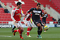 Filipe Morais of Stevenage and Mark Bradley of Rotherham challenge. Rotherham United v Stevenage - FA Cup 1st Round - New York Stadium, Rotherham - 3rd November 2012. © Kevin Coleman 2012.